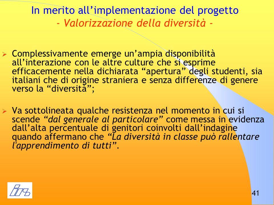 In merito all'implementazione del progetto - Valorizzazione della diversità -