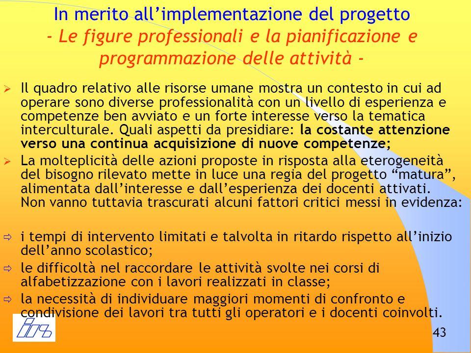 In merito all'implementazione del progetto - Le figure professionali e la pianificazione e programmazione delle attività -