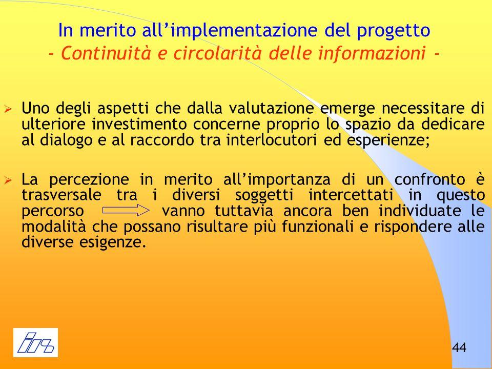 In merito all'implementazione del progetto - Continuità e circolarità delle informazioni -
