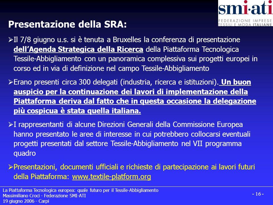 Presentazione della SRA: