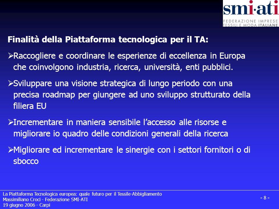 Finalità della Piattaforma tecnologica per il TA: