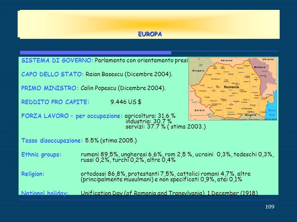 EUROPE EUROPA. SISTEMA DI GOVERNO: Parlamento con orientamento presidenziale . CAPO DELLO STATO: Raian Basescu (Dicembre 2004).
