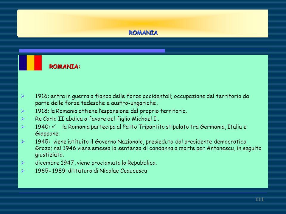 EUROPE ROMANIA. ROMANIA: