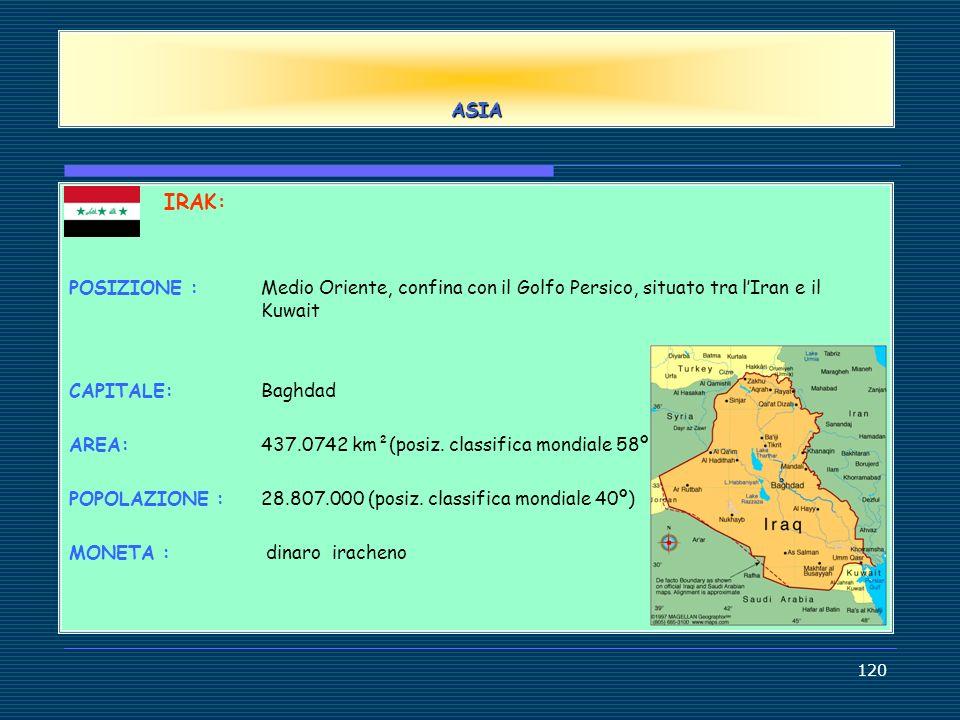 ASIA IRAK: POSIZIONE : Medio Oriente, confina con il Golfo Persico, situato tra l'Iran e il Kuwait.