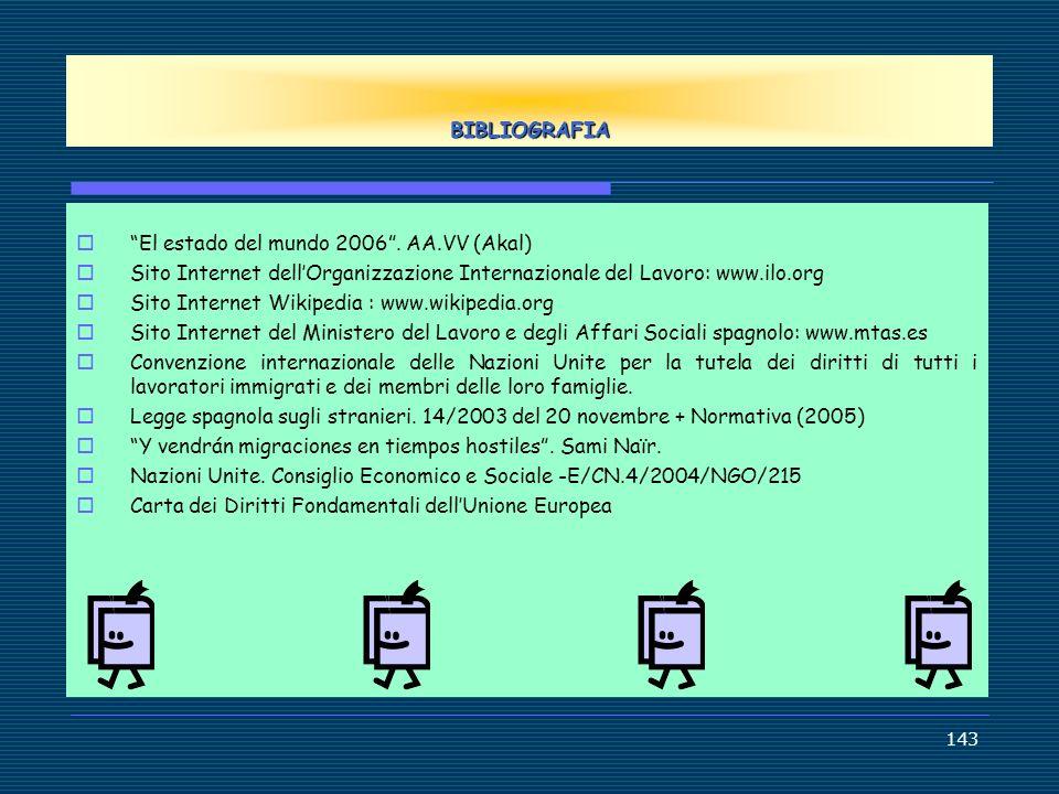 BIBLIOGRAFIA El estado del mundo 2006 . AA.VV (Akal) Sito Internet dell'Organizzazione Internazionale del Lavoro: www.ilo.org.
