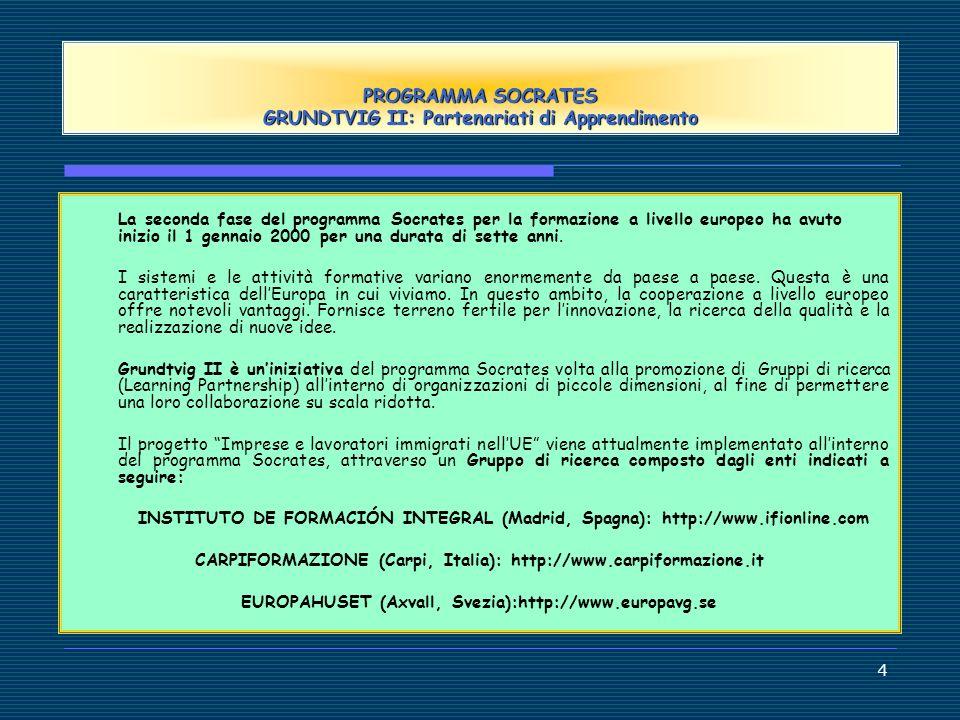 PROGRAMMA SOCRATES GRUNDTVIG II: Partenariati di Apprendimento