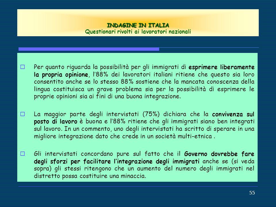 INDAGINE IN ITALIA Questionari rivolti ai lavoratori nazionali