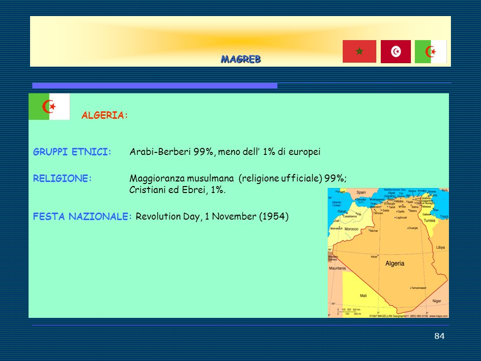 MAGREB ALGERIA: GRUPPI ETNICI: Arabi-Berberi 99%, meno dell' 1% di europei.