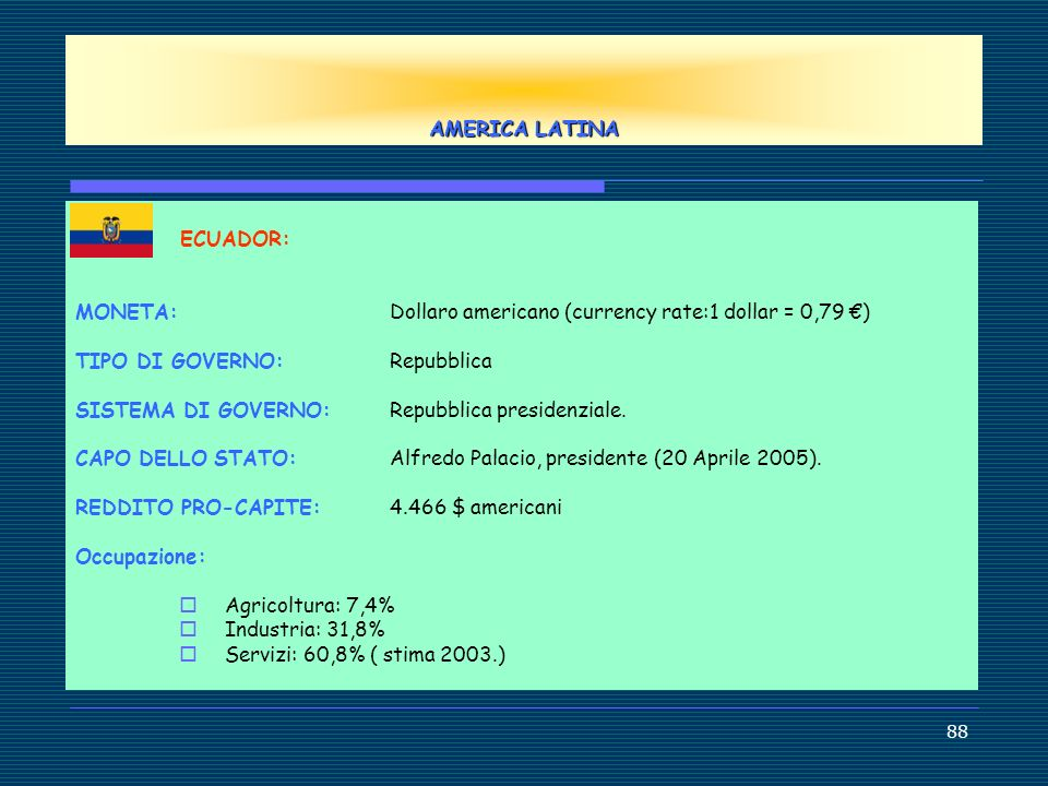 AMERICA LATINA ECUADOR: MONETA: Dollaro americano (currency rate:1 dollar = 0,79 €) TIPO DI GOVERNO: Repubblica.