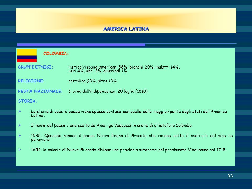 AMERICA LATINACOLOMBIA: GRUPPI ETNICI: meticci/ispano-americani 58%, bianchi 20%, mulatti 14%, neri 4%, neri 3%, amerindi 1%