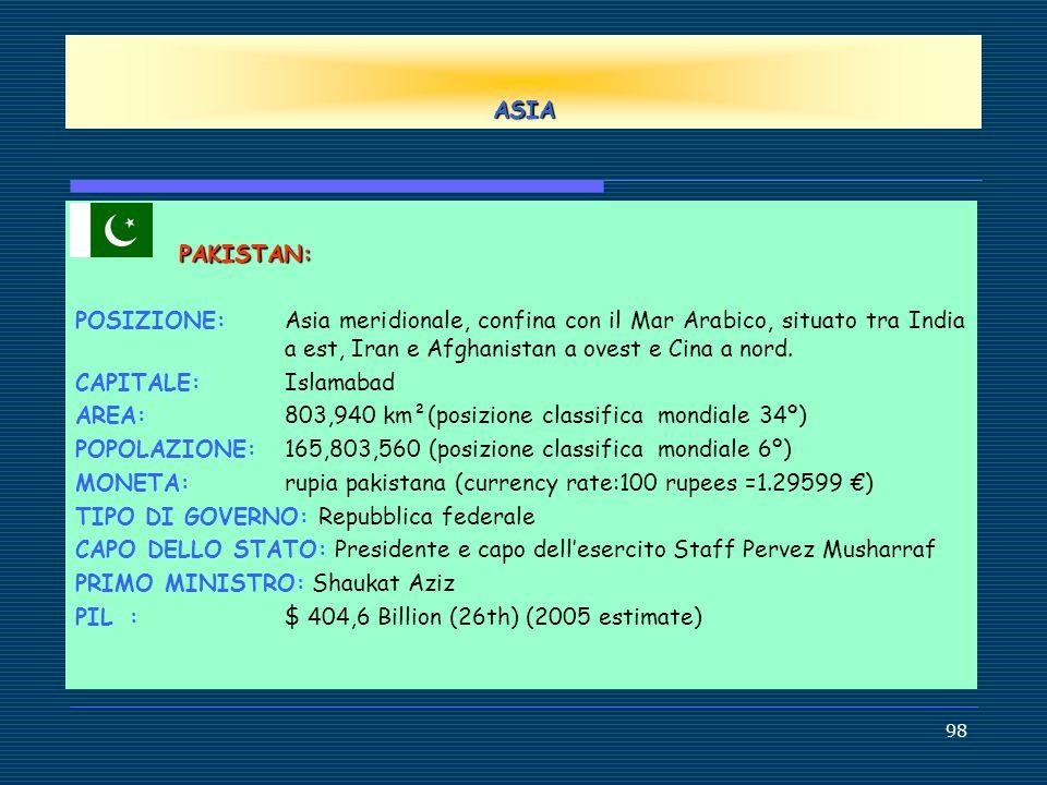 ASIA PAKISTAN: POSIZIONE: Asia meridionale, confina con il Mar Arabico, situato tra India a est, Iran e Afghanistan a ovest e Cina a nord.