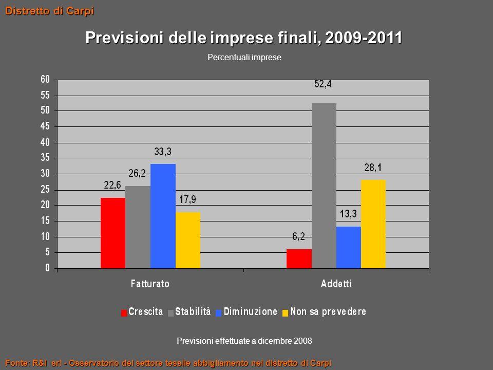 Previsioni delle imprese finali, 2009-2011