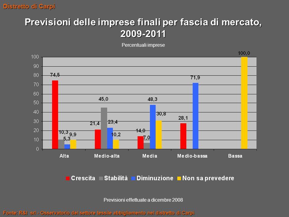 Previsioni delle imprese finali per fascia di mercato, 2009-2011