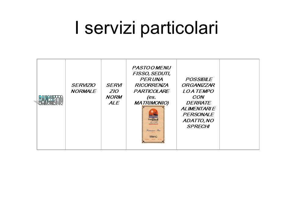 I servizi particolari SERVIZIO NORMALE. PASTO O MENU FISSO, SEDUTI, PER UNA RICORRENZA PARTICOLARE (es. MATRIMONIO)