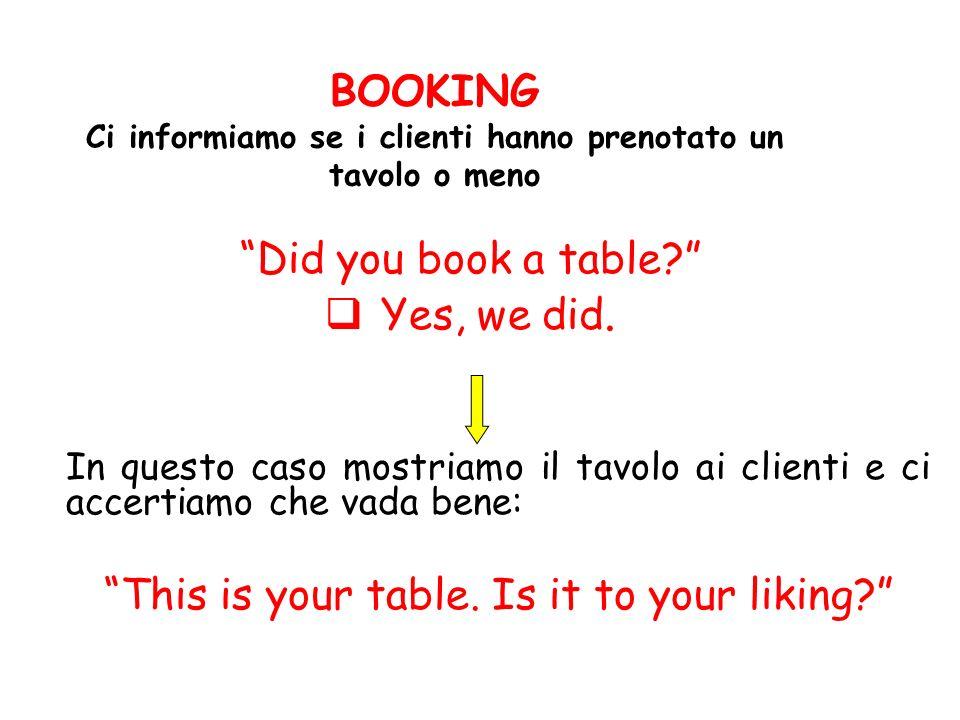 BOOKING Ci informiamo se i clienti hanno prenotato un tavolo o meno