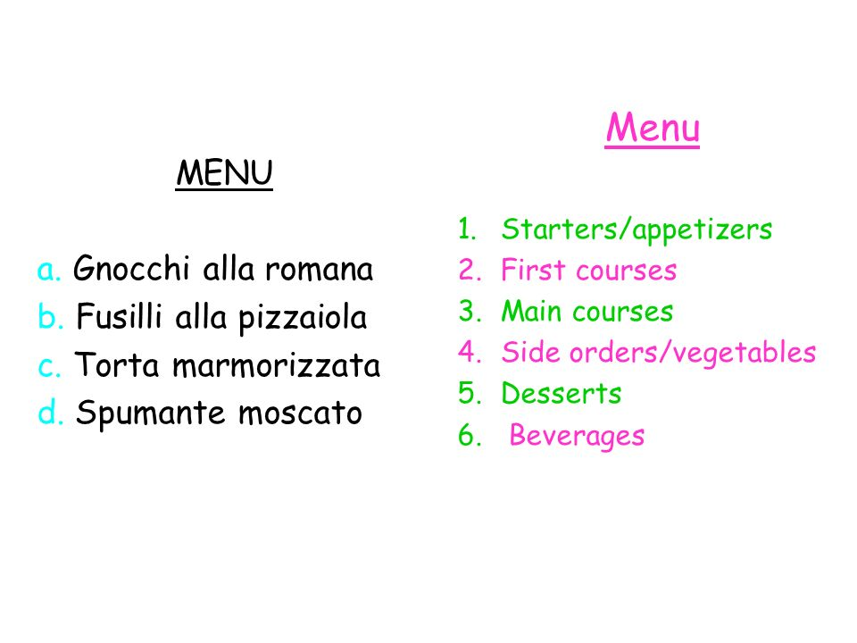 Menu MENU a. Gnocchi alla romana b. Fusilli alla pizzaiola
