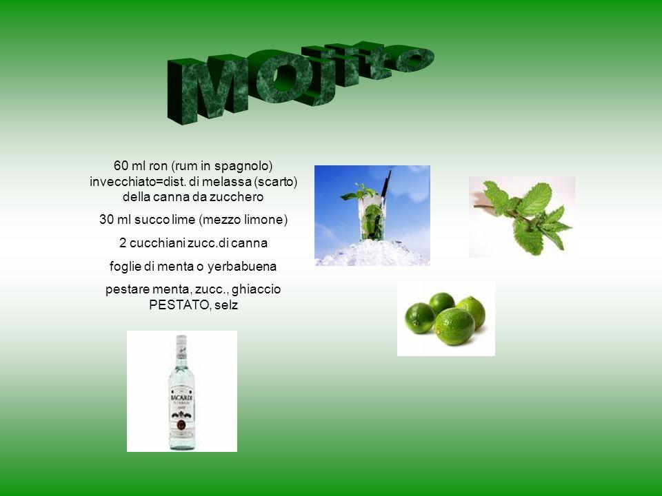 MOjito 60 ml ron (rum in spagnolo) invecchiato=dist. di melassa (scarto) della canna da zucchero. 30 ml succo lime (mezzo limone)