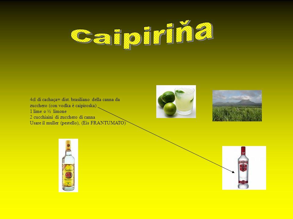 Caipiriňa 4cl di cachaça= dist. brasiliano della canna da zucchero (con vodka è caipiroska) 1 lime o ½ limone.