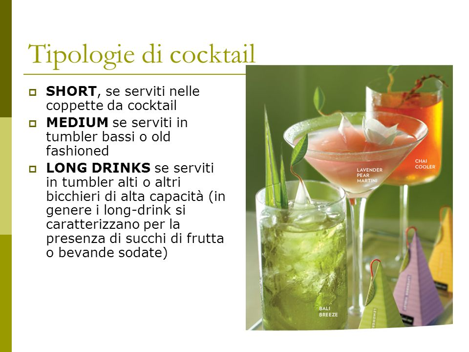 Tipologie di cocktail SHORT, se serviti nelle coppette da cocktail