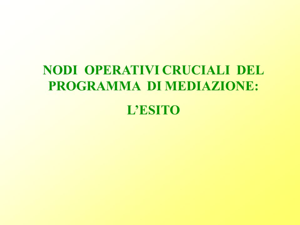 NODI OPERATIVI CRUCIALI DEL PROGRAMMA DI MEDIAZIONE: