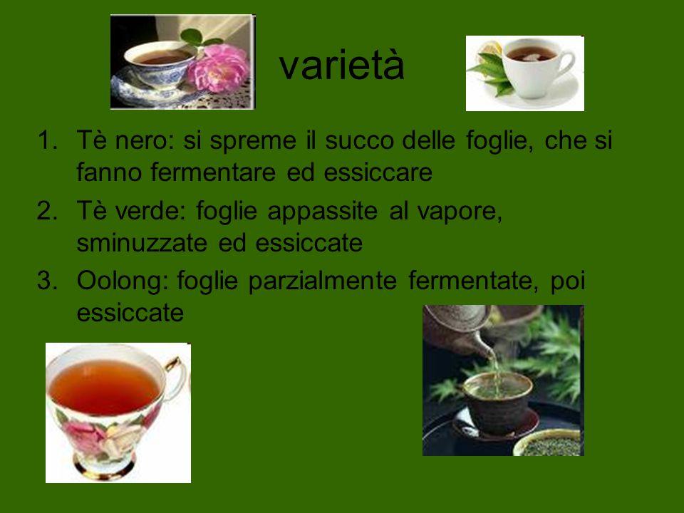 varietàTè nero: si spreme il succo delle foglie, che si fanno fermentare ed essiccare. Tè verde: foglie appassite al vapore, sminuzzate ed essiccate.