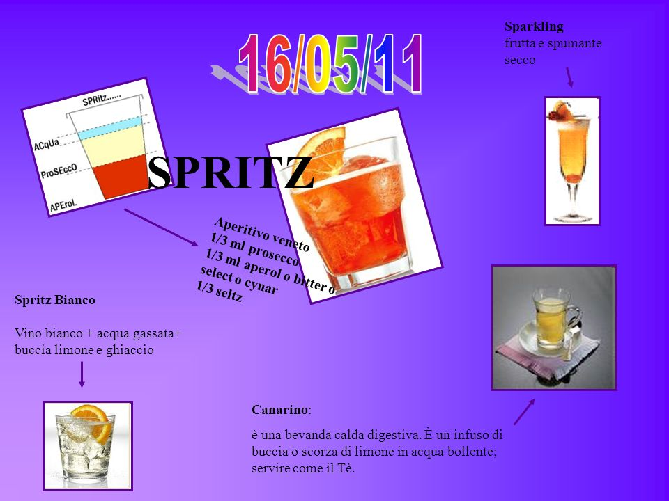 SPRITZ 16/05/11 Sparkling frutta e spumante secco Aperitivo veneto
