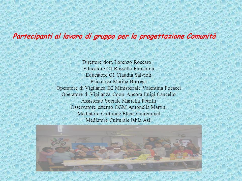 Partecipanti al lavoro di gruppo per la progettazione Comunità Direttore dott.