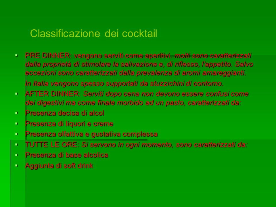 Classificazione dei cocktail
