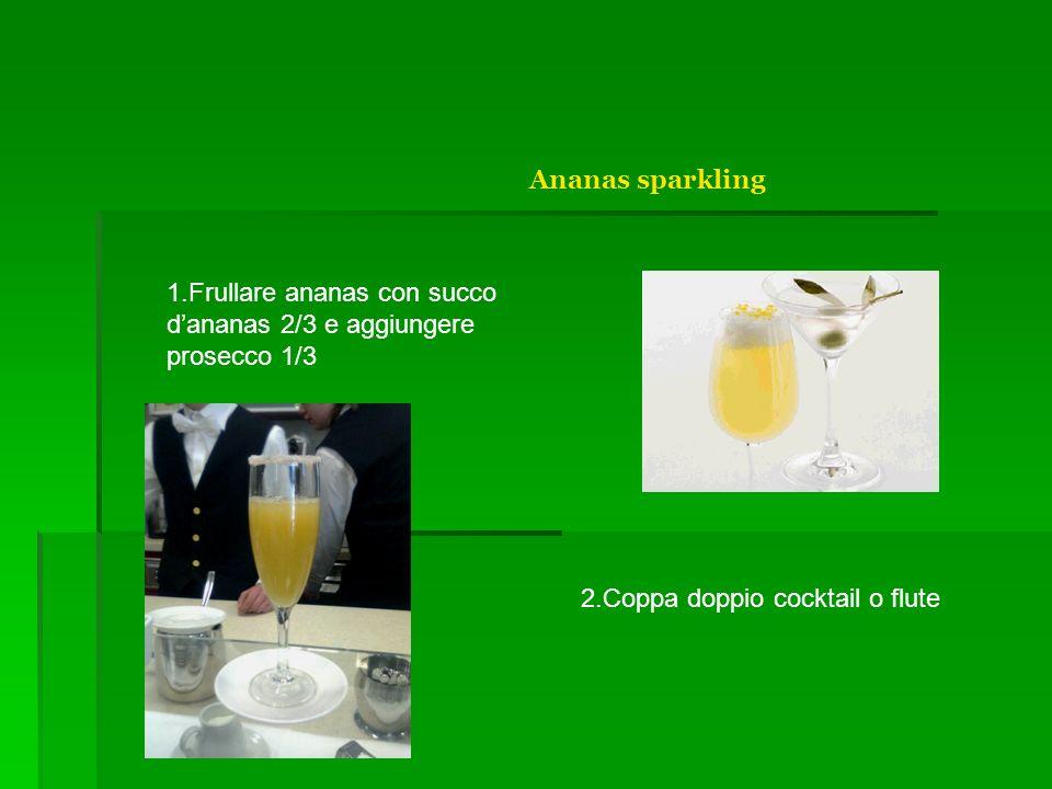 Ananas sparklingFrullare ananas con succo d'ananas 2/3 e aggiungere prosecco 1/3.