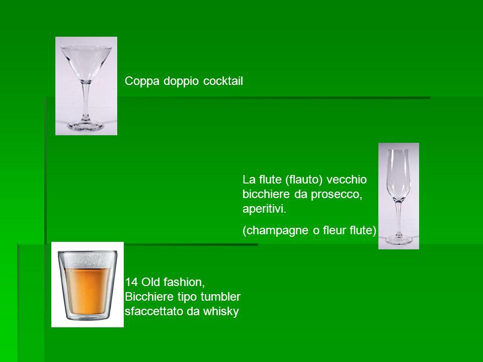 Coppa doppio cocktail La flute (flauto) vecchio bicchiere da prosecco, aperitivi. (champagne o fleur flute)