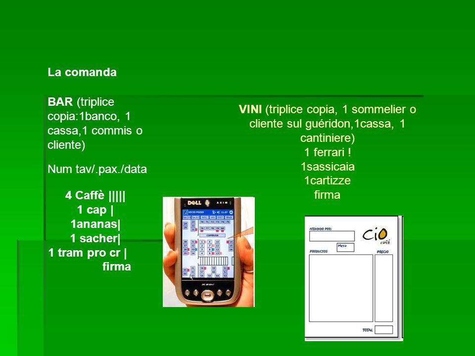 La comanda BAR (triplice copia:1banco, 1 cassa,1 commis o cliente) VINI (triplice copia, 1 sommelier o cliente sul guéridon,1cassa, 1 cantiniere)