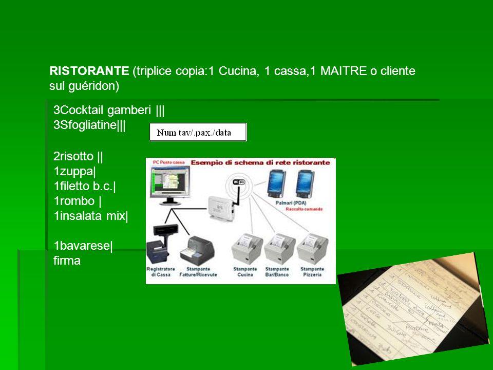 RISTORANTE (triplice copia:1 Cucina, 1 cassa,1 MAITRE o cliente sul guéridon)
