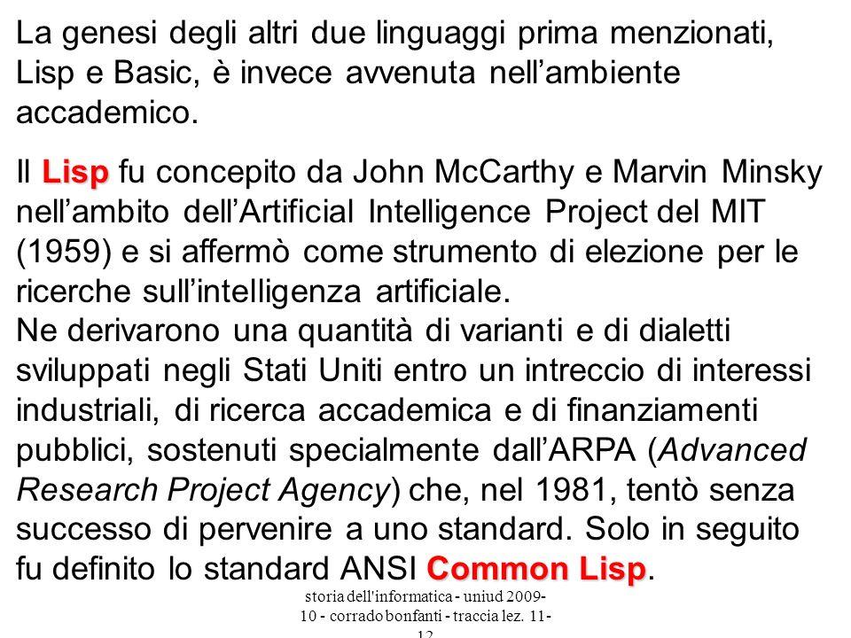 La genesi degli altri due linguaggi prima menzionati, Lisp e Basic, è invece avvenuta nell'ambiente accademico.