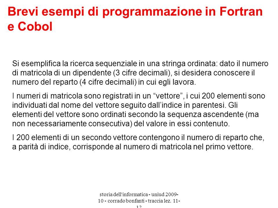 Brevi esempi di programmazione in Fortran e Cobol