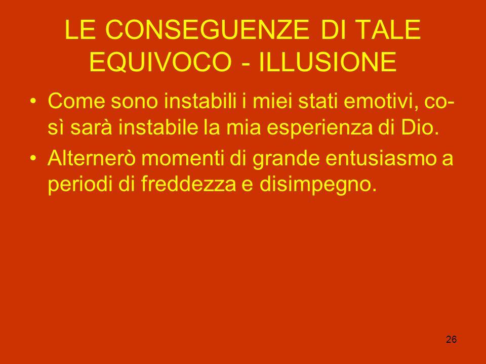 LE CONSEGUENZE DI TALE EQUIVOCO - ILLUSIONE