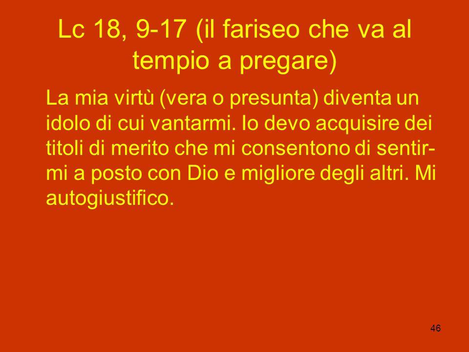 Lc 18, 9-17 (il fariseo che va al tempio a pregare)