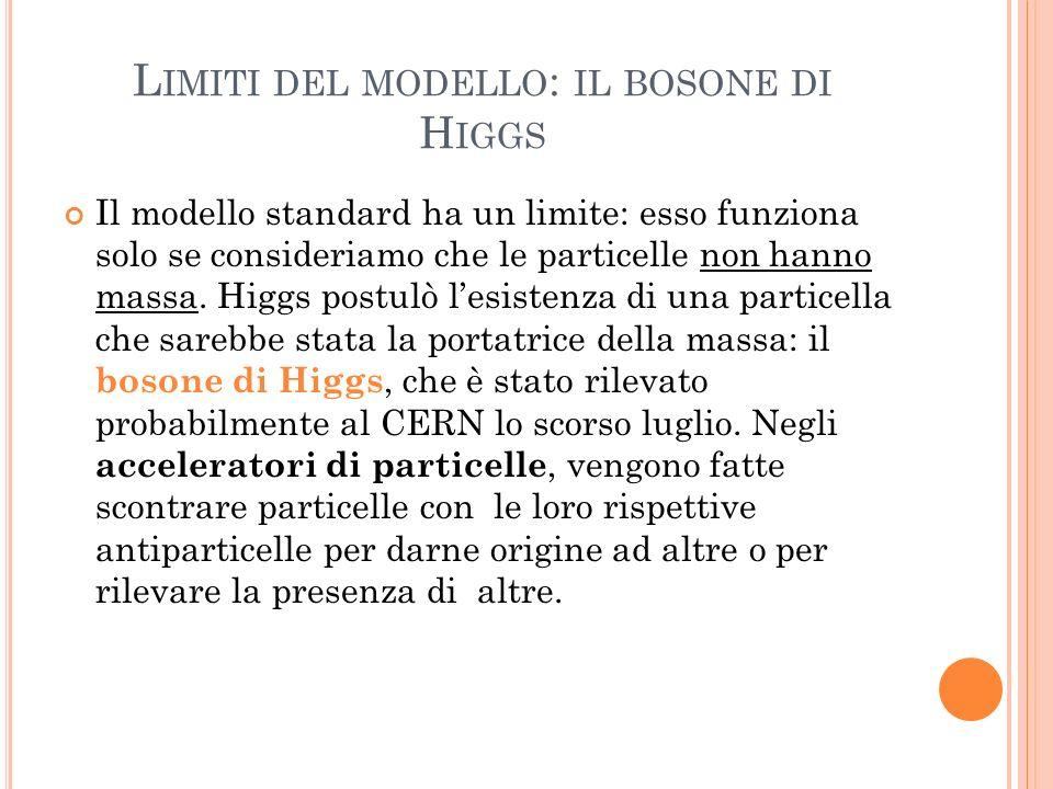 Limiti del modello: il bosone di Higgs