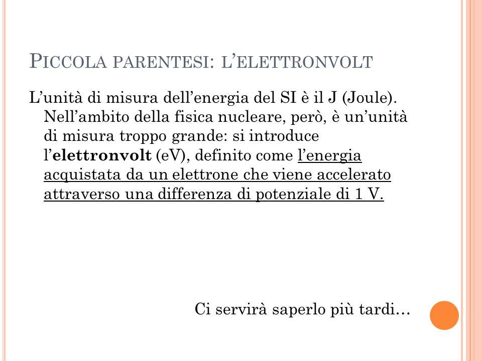 Piccola parentesi: l'elettronvolt