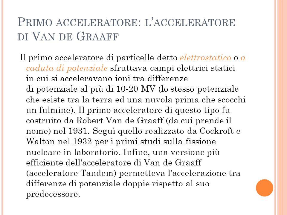Primo acceleratore: l'acceleratore di Van de Graaff