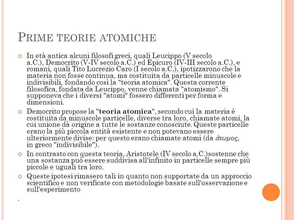 Prime teorie atomiche