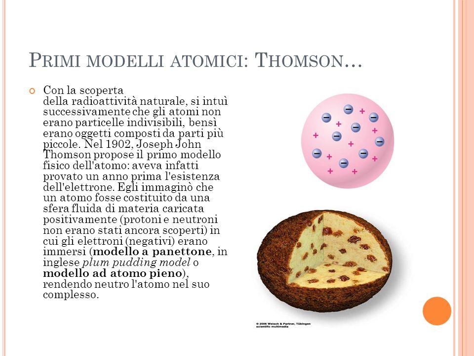 Primi modelli atomici: Thomson…