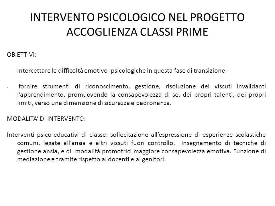 INTERVENTO PSICOLOGICO NEL PROGETTO ACCOGLIENZA CLASSI PRIME
