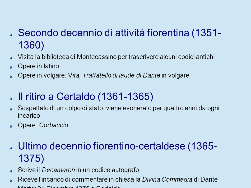 Secondo decennio di attività fiorentina (1351-1360)