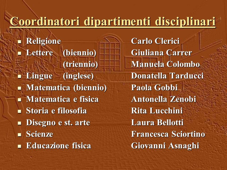 Coordinatori dipartimenti disciplinari