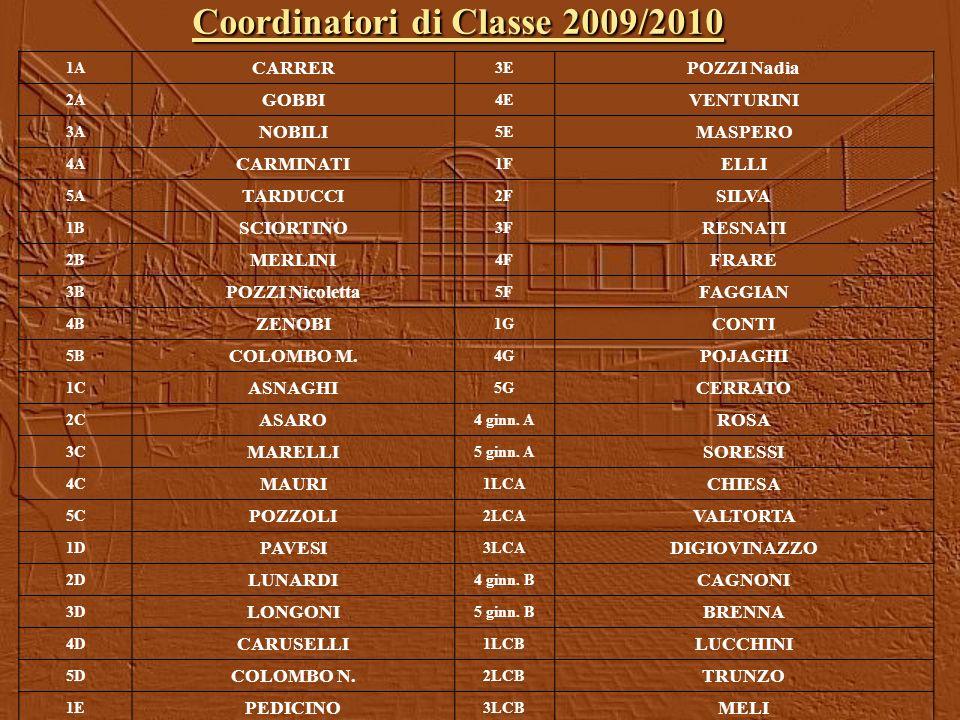 Coordinatori di Classe 2009/2010