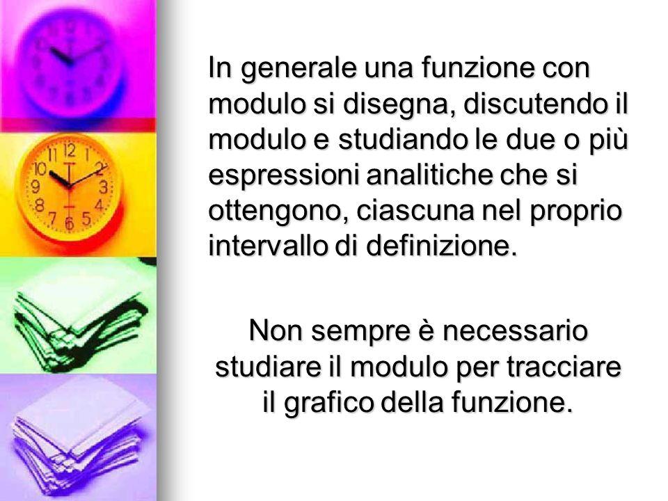 In generale una funzione con modulo si disegna, discutendo il modulo e studiando le due o più espressioni analitiche che si ottengono, ciascuna nel proprio intervallo di definizione.