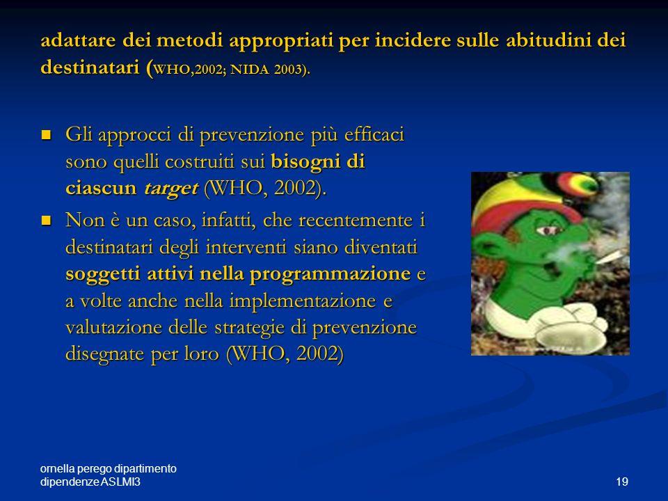 adattare dei metodi appropriati per incidere sulle abitudini dei destinatari (WHO,2002; NIDA 2003).