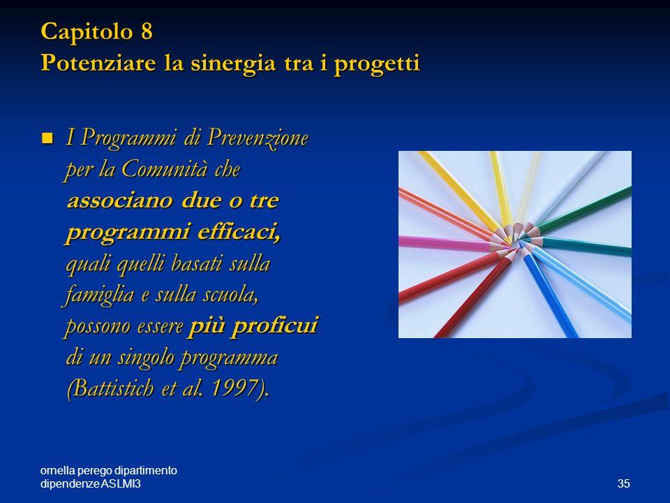 Capitolo 8 Potenziare la sinergia tra i progetti