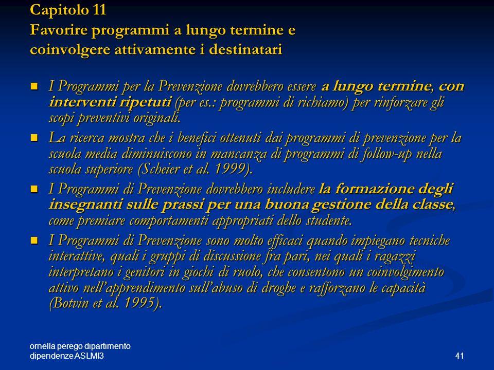 Capitolo 11 Favorire programmi a lungo termine e coinvolgere attivamente i destinatari