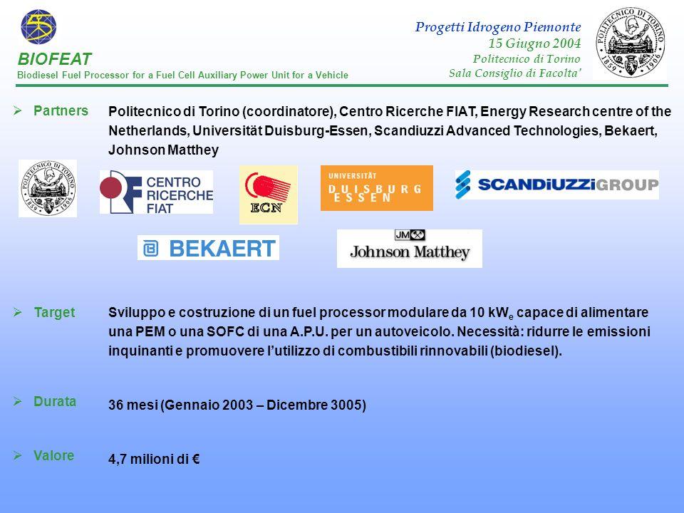 BIOFEAT Progetti Idrogeno Piemonte 15 Giugno 2004 Partners